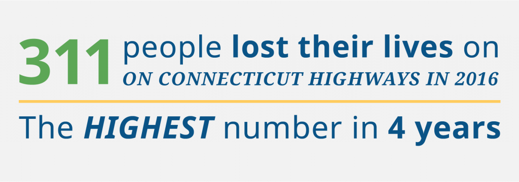 """Graphic with statistic: """"303 people lost their lives on Connecticut highways in 2018"""""""